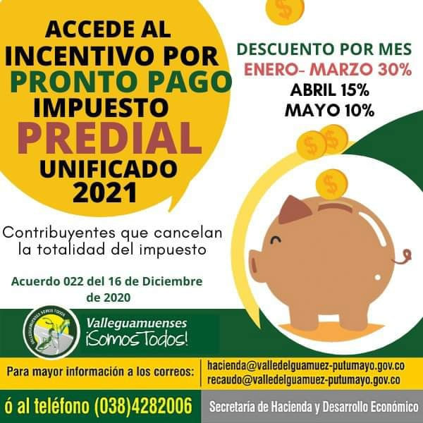 INCENTIVO POR PRONTO PAGO IMPUESTO PREDIAL UNIFICADO 2021